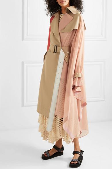 Sacai Coats Draped pleated cotton-blend gabardine, poplin, georgette and satin trench coat