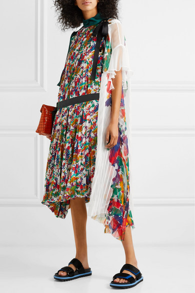 Sacai Dresses Draped pleated floral-print satin and chiffon midi dress