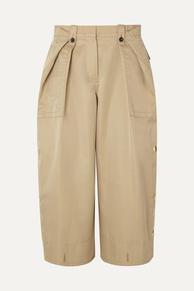 Sacai Pants Cropped grosgrain-trimmed cotton-blend gabardine and poplin pants