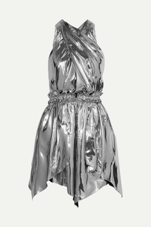 Isabel Marant Mini-robe dos ouvert en lamé de soie mélangée Kary