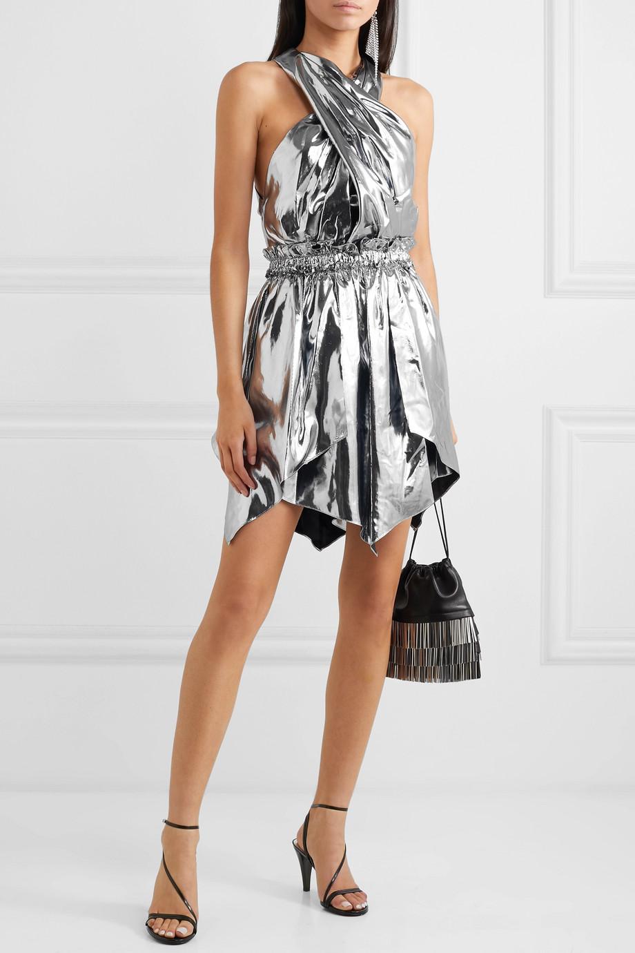 Isabel Marant Kary open-back silk-blend lamé mini dress