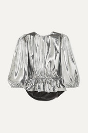 Kyama metallic silk-blend top