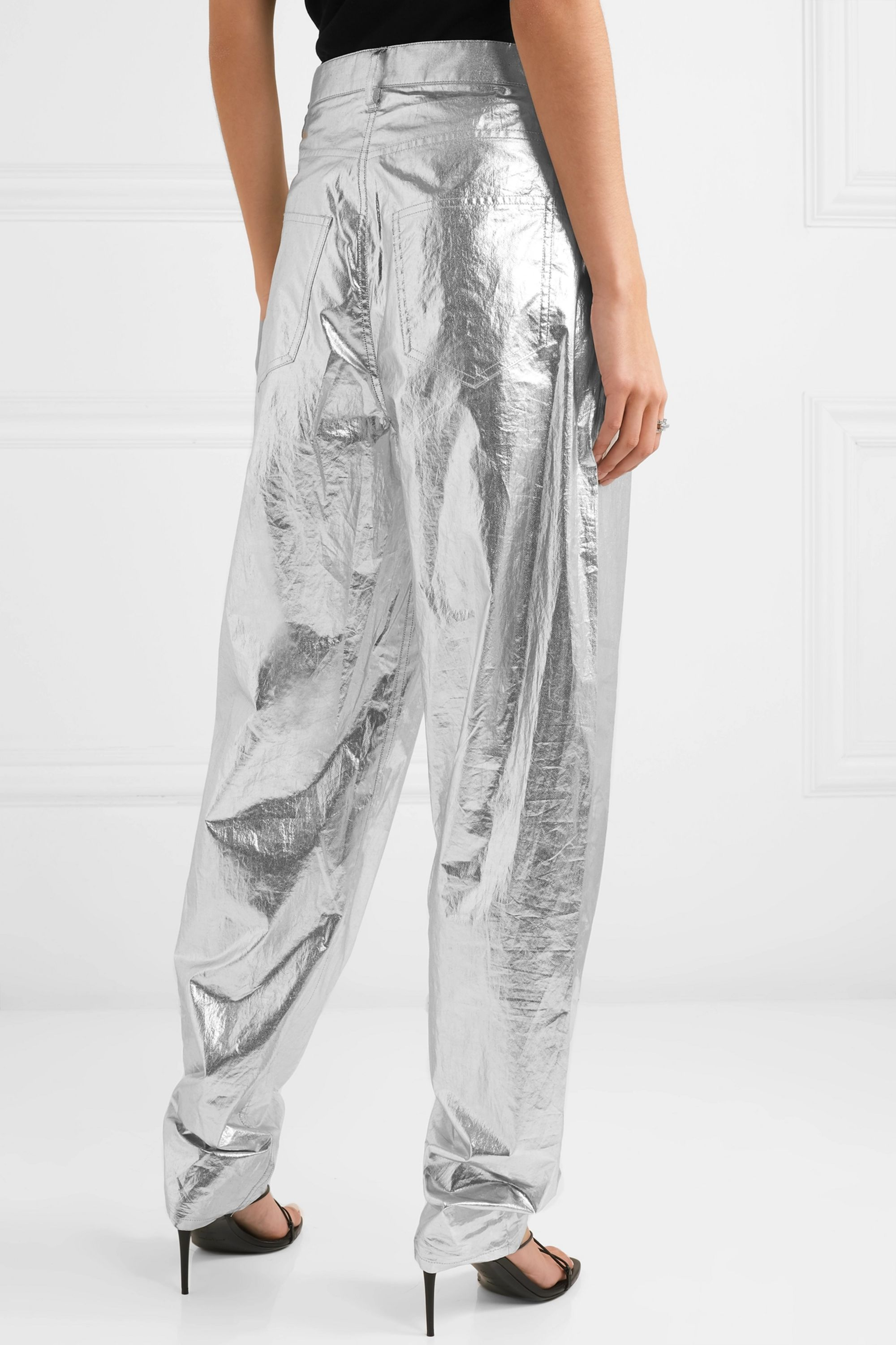 Isabel Marant Torsy metallic coated cotton tapered pants
