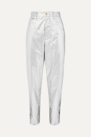 Torsy metallic coated cotton tapered pants