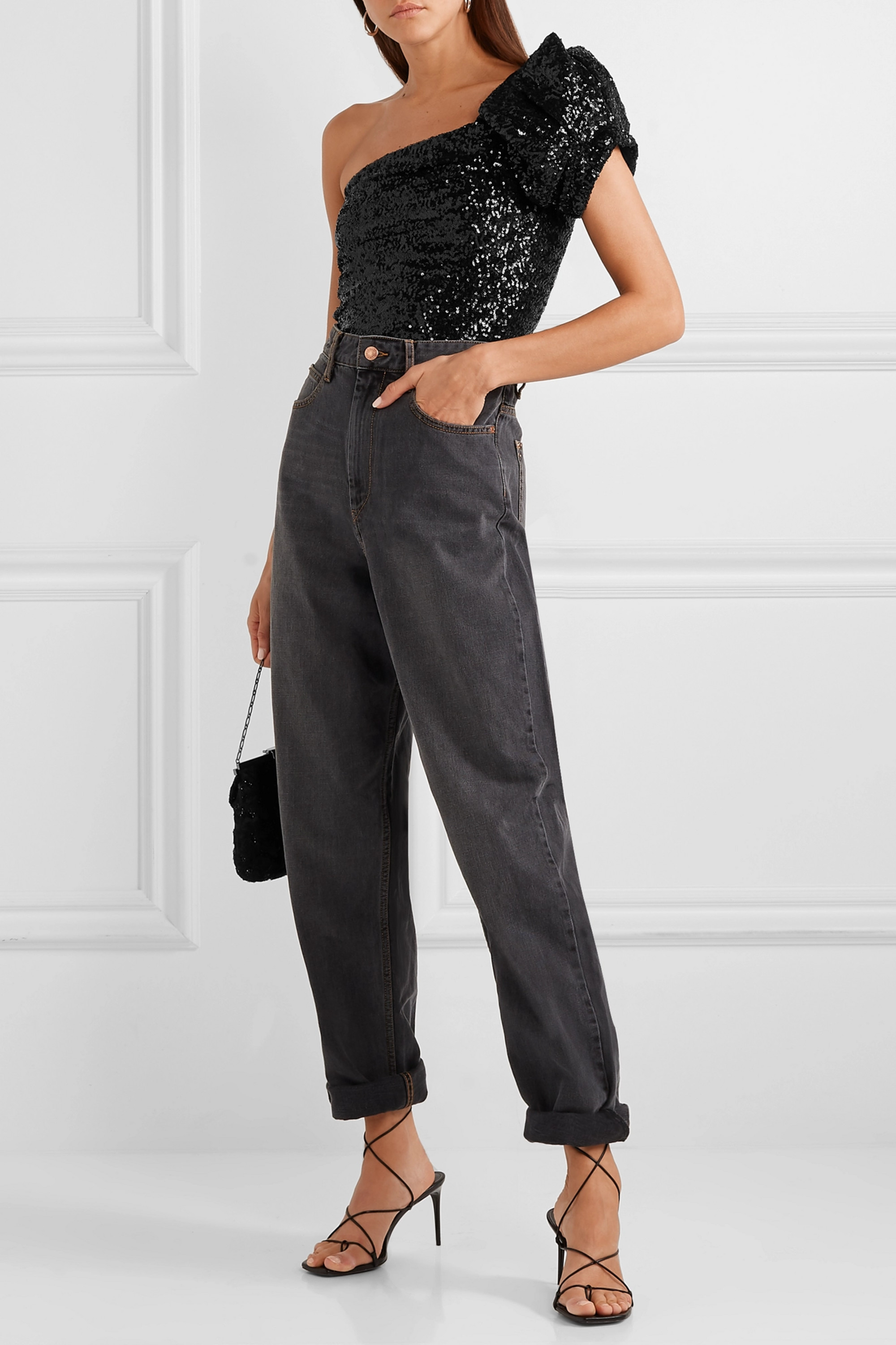 Isabel Marant Ocha one-shoulder sequined stretch-tulle top