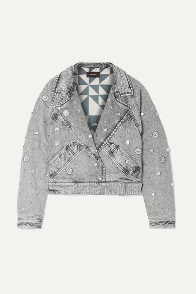 92b3da267 Ria cropped embellished stonewashed denim jacket