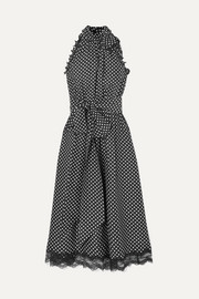 Marc Jacobs Lace-trimmed ruffled polka-dot silk dress