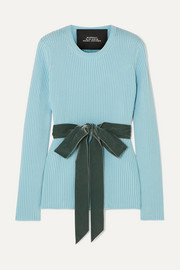 Marc Jacobs Velvet-trimmed ribbed wool sweater