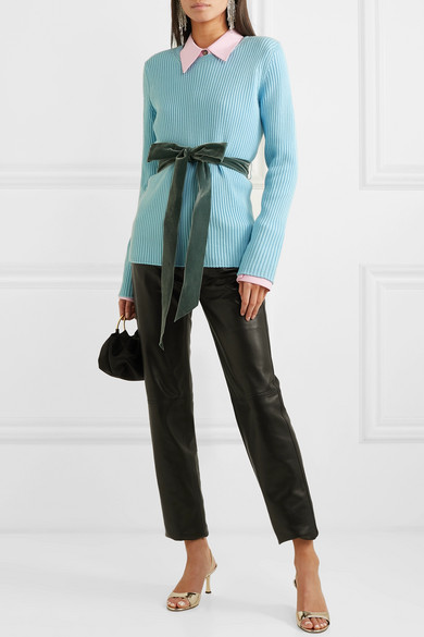 Marc Jacobs Knits Velvet-trimmed ribbed wool sweater