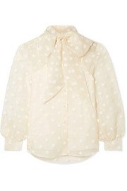 Marc Jacobs Pussy-bow flocked silk-organza blouse
