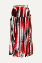 Tina pleated houndstooth silk crepe de chine midi skirt