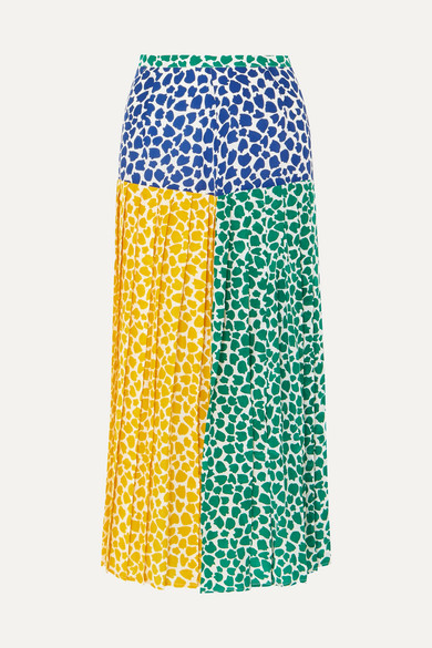 9442d9e347 RIXO | Tina pleated printed silk crepe de chine midi skirt |  NET-A-PORTER.COM