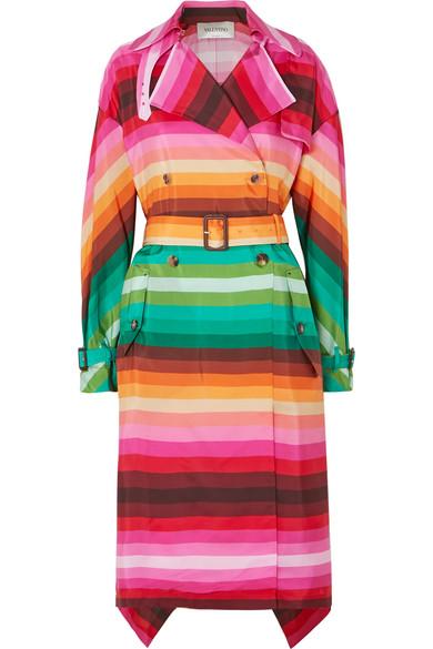 Valentino Silks Striped duchesse silk-satin trench coat