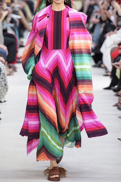 Valentino Coats Striped duchesse silk-satin trench coat