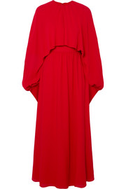 Cape-effect silk-crepe gown