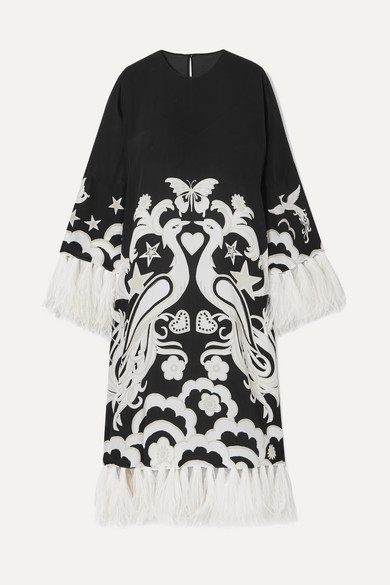 Feather-trimmed Printed Silk-crepe Midi Dress