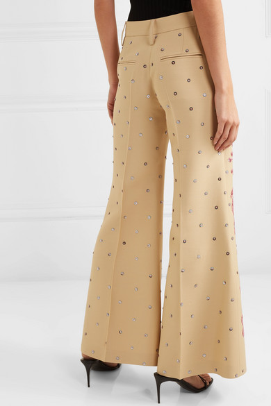 Valentino Pants Sequined wool and silk-blend flared pants