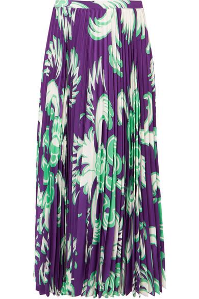 Valentino Skirts Pleated printed silk-crepe midi skirt