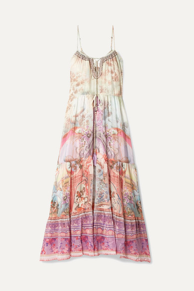 Camilla Beachwear Tiered embellished printed silk crepe de chine maxi dress