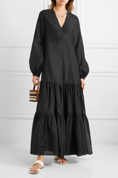 MATIN | Tiered silk and cotton-blend voile wrap maxi dress | NET-A