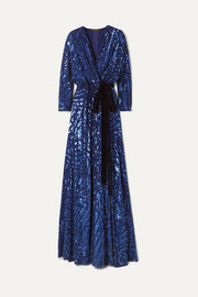 Lamour velvet-trimmed sequined silk-chiffon wrap gown