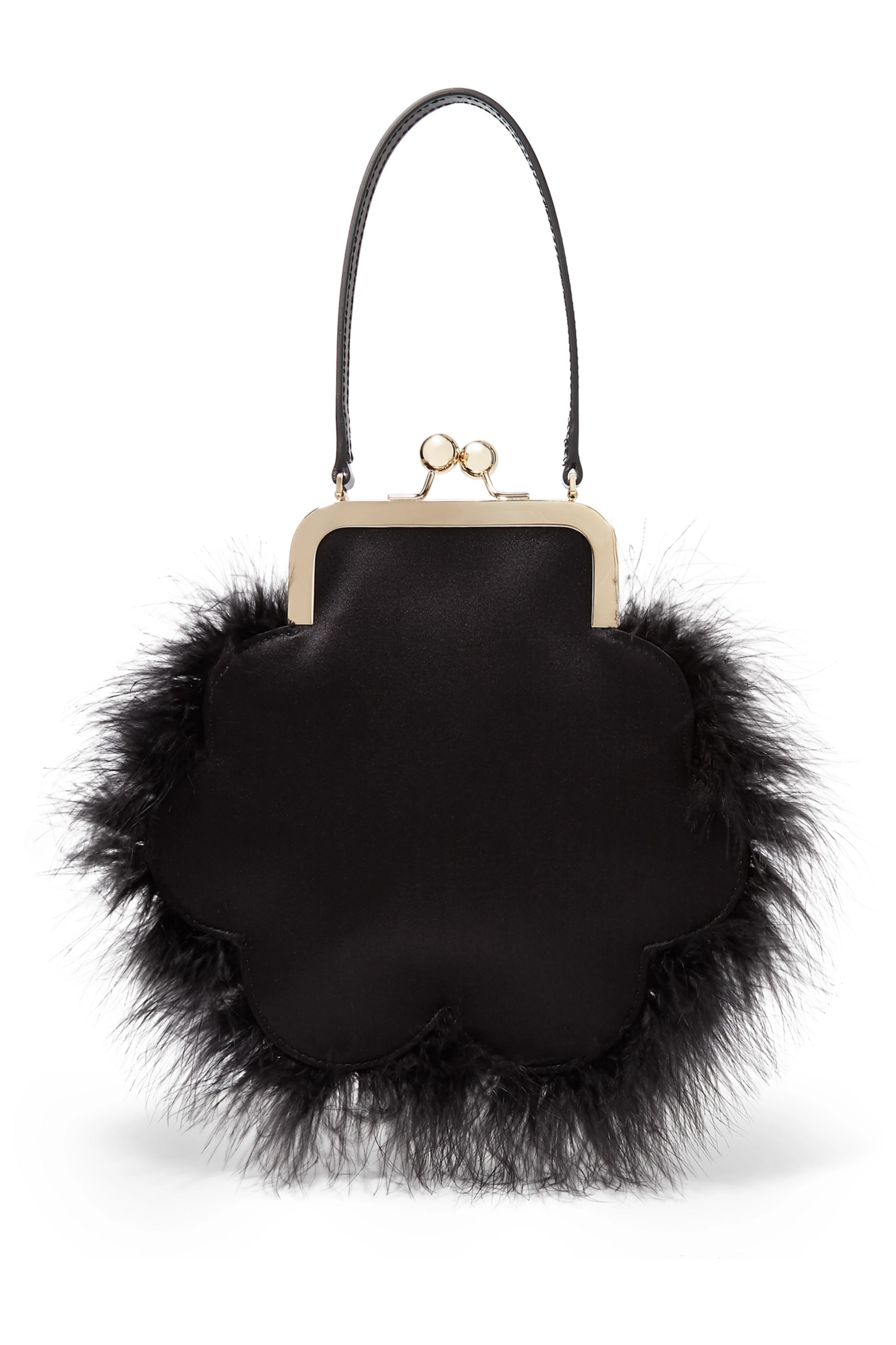 Simone Rocha Flower feather-trimmed satin tote