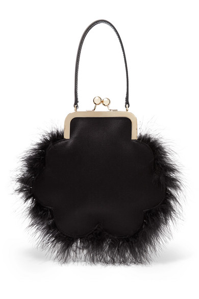 Simone Rocha Totes Flower feather-trimmed satin tote