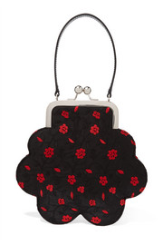 Flower floral-jacquard tote