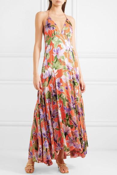 77767ec64e40 Alice + Olivia | Hetty floral-print flocked satin maxi dress | NET-A ...