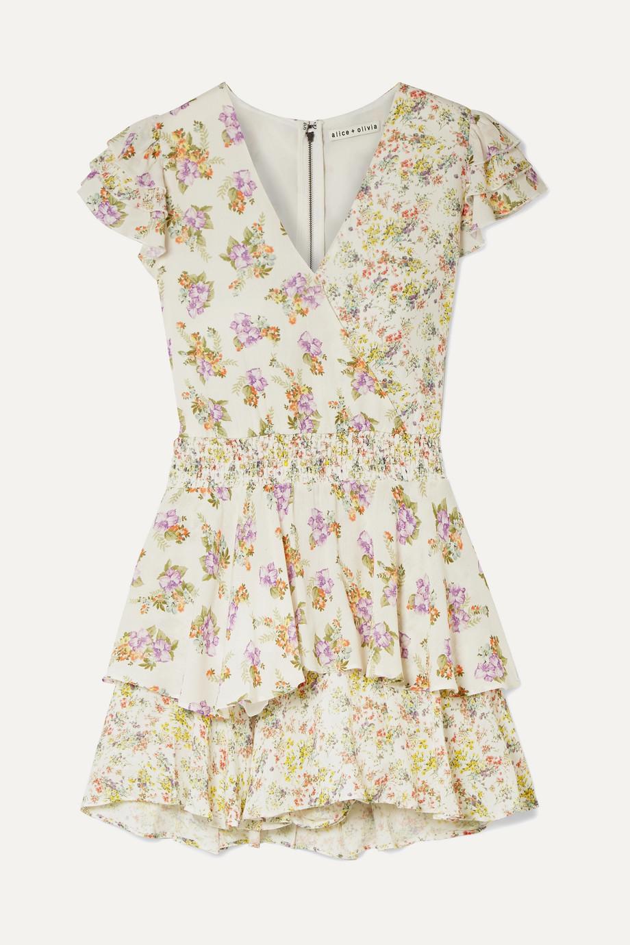 Alice + Olivia Mariska ruffled floral-print voile playsuit