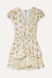 Mariska ruffled floral-print voile playsuit
