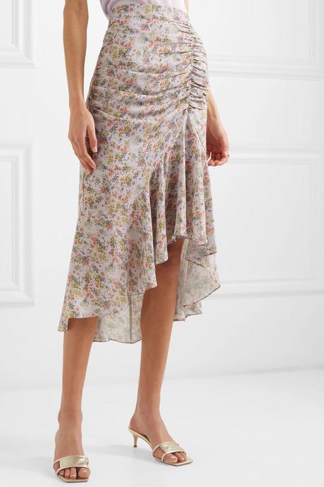 Freida asymmetric ruched floral-print crepe midi skirt