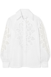 Broderie anglaise cotton-blend shirt