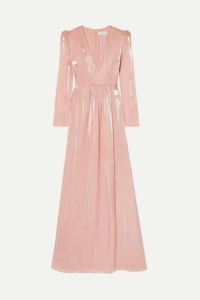 Rachel Zoe Dresses Rosalie gathered metallic chiffon gown