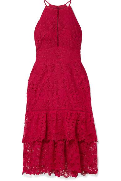 Annalise Tiered Guipure Lace Midi Dress by Rachel Zoe