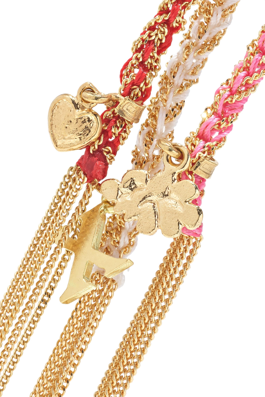 Carolina Bucci Lucky Set aus drei Armbändern aus 18 Karat Gold mit Diamanten und Seide