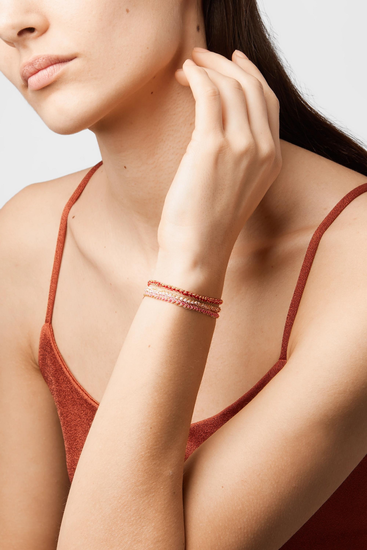 Carolina Bucci Lucky set of three 18-karat gold, diamond and silk bracelets