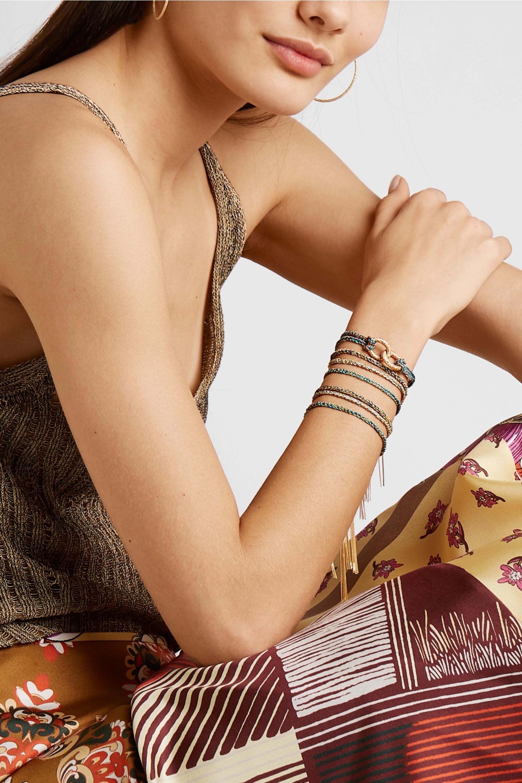 Carolina Bucci Lucky set of three 18-karat white gold, silk and diamond bracelets