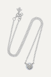 Carolina Bucci Superstellar 18-karat white gold, pearl and diamond necklace