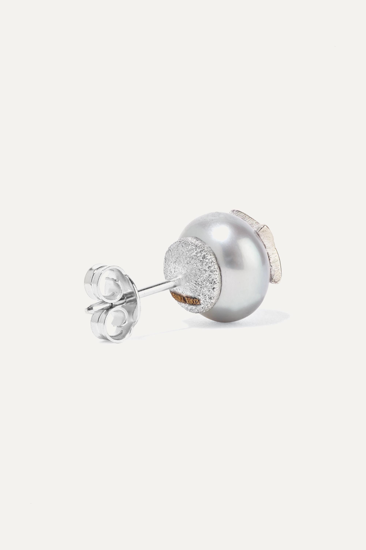 Carolina Bucci Superstellar 18-karat white gold, pearl and diamond earrings