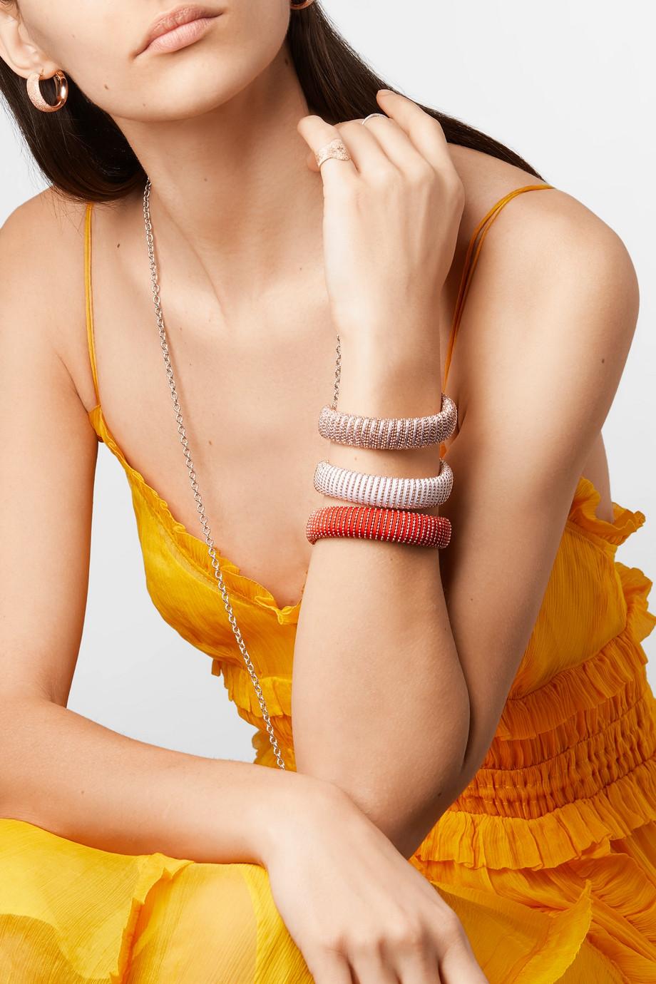 Carolina Bucci Caro set of three 18-karat rose gold-plated, cotton and Lurex bracelets