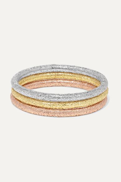 Carolina Bucci Accessories Florentine set of three 18-karat yellow, white and rose gold rings