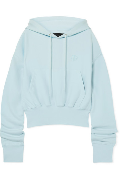 WE11DONE | We11done - Cropped Embroidered Cotton-Jersey Hoodie - Sky Blue | Goxip
