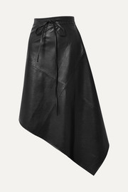 we11done Asymmetric faux leather wrap skirt