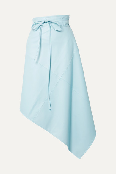 We11 Done Skirts Asymmetric faux leather wrap skirt