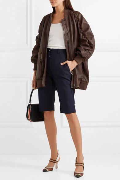 Fendi Jackets Oversized ruched perforated leather bomber jacket