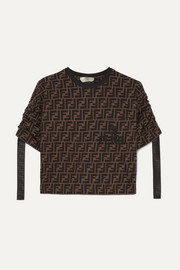 Fendi Cropped printed cotton-jersey T-shirt