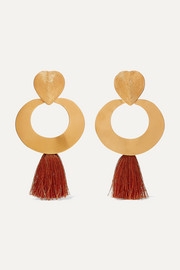 + Paula Mendoza & Cano Olive Trees fringed gold-tone earrings