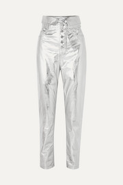 Key metallic leather tapered pants