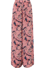 Tany printed crepe de chine wide-leg pants